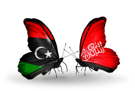 Two butterflies with flags on wings as symbol of relations Libya and Waziristan photo
