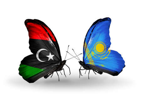 Two butterflies with flags on wings as symbol of relations Libya and Kazakhstan photo