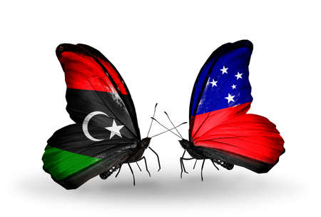Two butterflies with flags on wings as symbol of relations Libya and Samoa photo