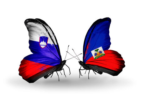 Two butterflies with flags on wings as symbol of relations Slovenia and Haiti photo