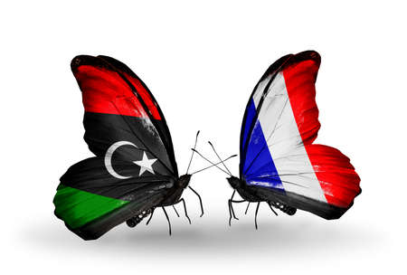 Two butterflies with flags on wings as symbol of relations Libya and France photo