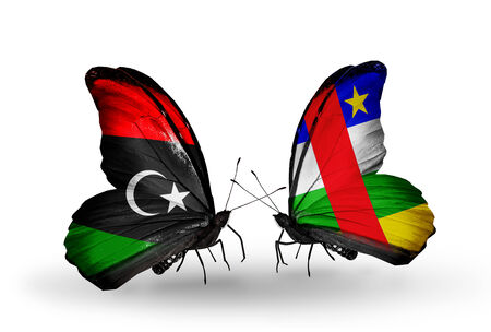 Two butterflies with flags on wings as symbol of relations Libya and CAR photo