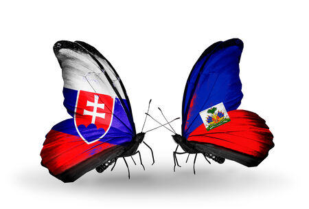 Two butterflies with flags on wings as symbol of relations Slovakia and Haiti photo