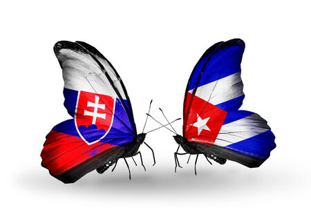 Two butterflies with flags on wings as symbol of relations Slovakia and Cuba