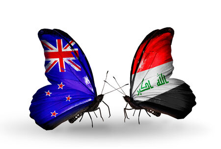 iraq money: Two butterflies with flags on wings as symbol of relations New Zealand and Iraq