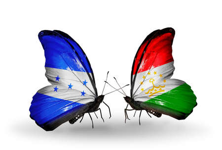 economy of tajikistan: Two butterflies with flags on wings as symbol of relations Honduras and Tajikistan