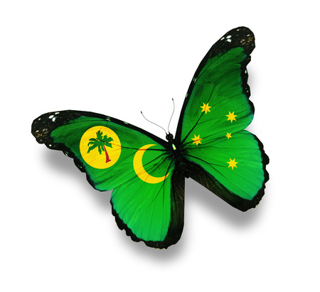 cocos: Cocos (Keeling) Islands flag butterfly, isolated on white Stock Photo