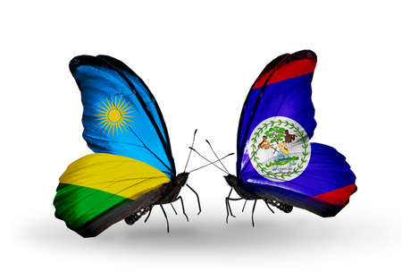 Two butterflies with flags on wings as symbol of relations Rwanda and Belize photo
