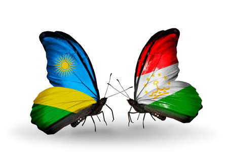 economy of tajikistan: Two butterflies with flags on wings as symbol of relations Rwanda and Tajikistan