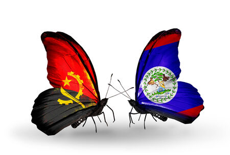 Two butterflies with flags on wings as symbol of relations Angola and Belize photo