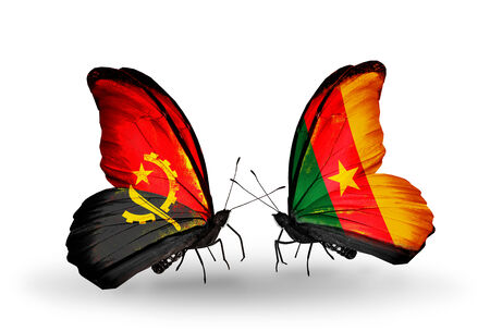 Two butterflies with flags on wings as symbol of relations Angola and Cameroon photo