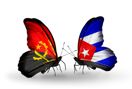 Two butterflies with flags on wings as symbol of relations Angola and Cuba