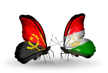 economy of tajikistan: Two butterflies with flags on wings as symbol of relations Angola and Tajikistan