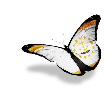 Rhode Island  flag butterfly flying on sky background photo