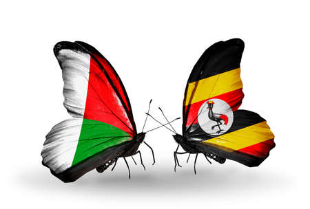 Two butterflies with flags on wings as symbol of relations Madagascar and Uganda photo