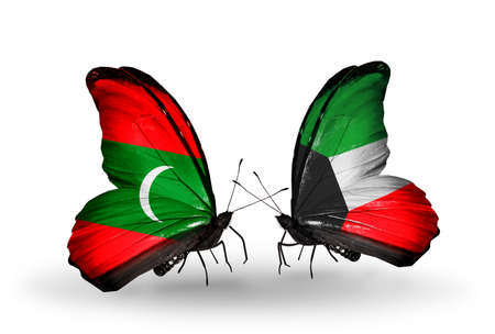 Two butterflies with flags on wings as symbol of relations Maldives and Kuwait photo
