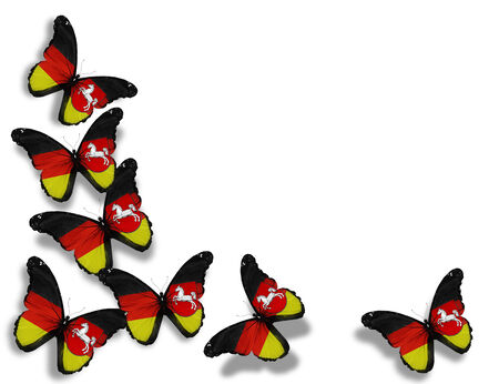Lower Saxony flag butterflies, isolated on white background photo