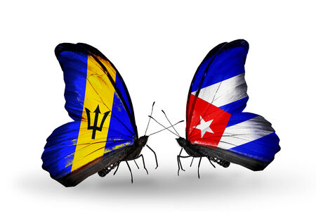 Two butterflies with flags on wings as symbol of relations Barbados and Cuba