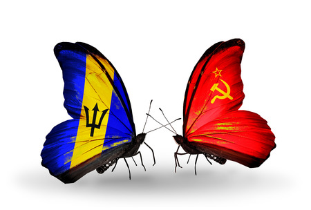 Two butterflies with flags on wings as symbol of relations Barbados and Soviet Union