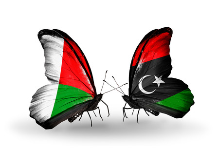 Two butterflies with flags on wings as symbol of relations Madagascar and Libya photo