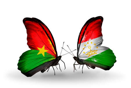 economy of tajikistan: Two butterflies with flags on wings as symbol of relations Burkina Faso and Tajikistan