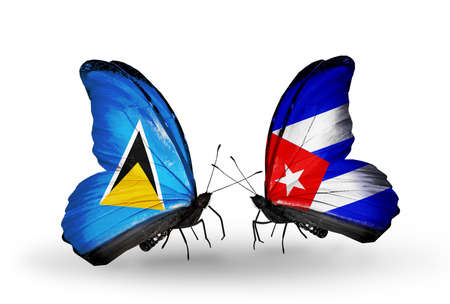 Two butterflies with flags on wings as symbol of relations Saint Lucia and Cuba