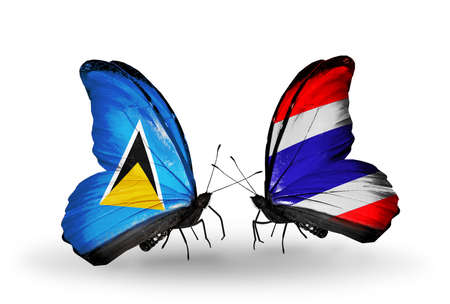 lucia: Two butterflies with flags on wings as symbol of relations Saint Lucia and Thailand