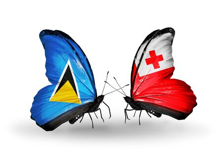 lucia: Two butterflies with flags on wings as symbol of relations Saint Lucia and Tonga