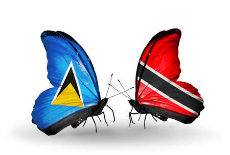 lucia: Two butterflies with flags on wings as symbol of relations Saint Lucia and Trinidad and Tobago