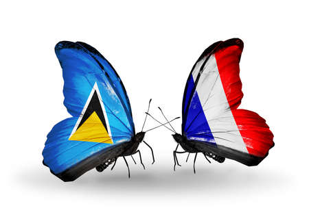 lucia: Two butterflies with flags on wings as symbol of relations Saint Lucia and France Stock Photo