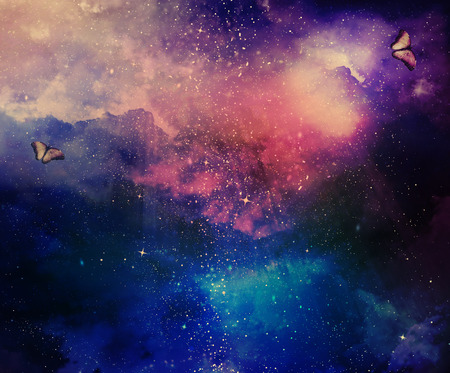 Universe filled with stars, nebula and butterflies
