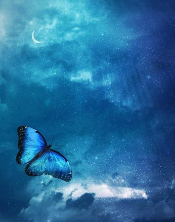 Ciel bleu avec papillon lumineux Banque d'images - 37750949