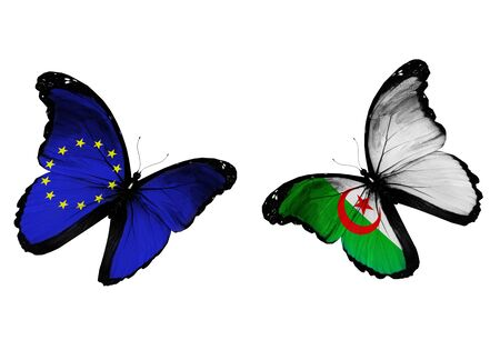 algeria: Concept - two butterflies with EU and Algeria flags flying Stock Photo