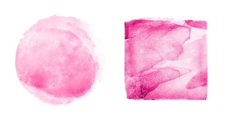 Two watercolor squares on white as background