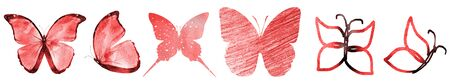 SIx watercolor butterflies, isolated on white background