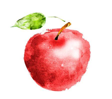 Manzana acuarela en blanco