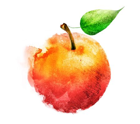 Watercolor apple on white