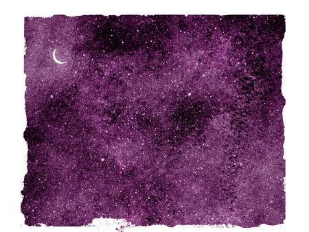 Ciel nocturne avec des étoiles comme arrière-plan isolé. Aquarelle