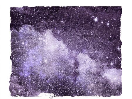 Night sky with stars as isolated background. Watercolor