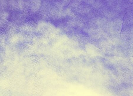 Color sky with clouds as background. Watercolor