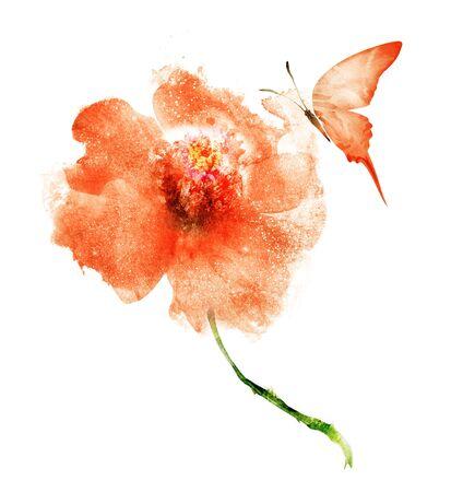 Flores de acuarela, aisladas sobre fondo blanco