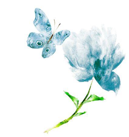 Flores de acuarela, aisladas sobre fondo blanco Foto de archivo