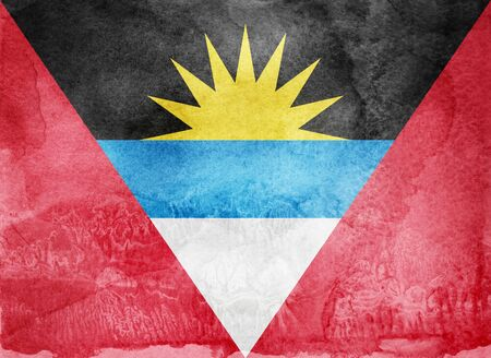 Watercolor flag on background. Antigua and Barbuda Stock Photo