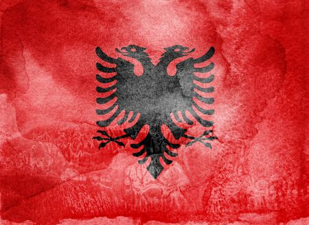 Watercolor flag on background. Albania