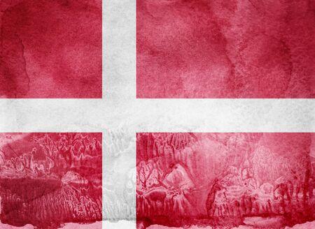Watercolor flag on background. Denmark Archivio Fotografico
