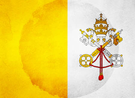 Watercolor flag on background. Holy see