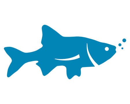 Blue silhouette of fish on white background