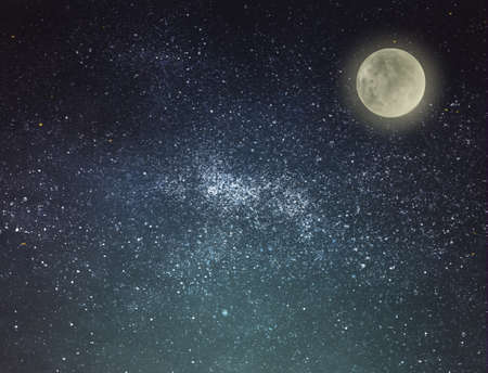 Night sky with stars and moon as background. Universe