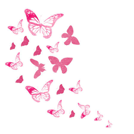 Flock of silhouette butterflies on white Imagens