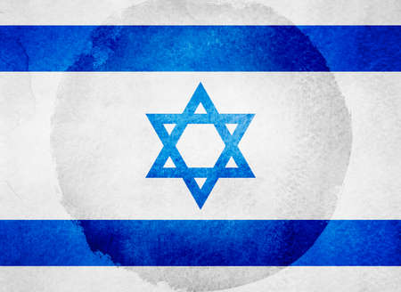 Watercolor flag on background. Israel Imagens